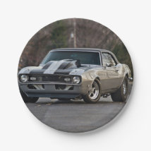 Silver Muscle car Paper Plate