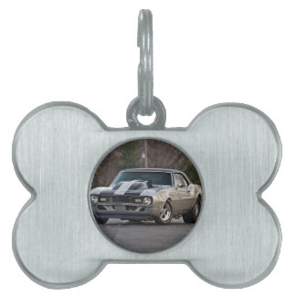 Silver Muscle car Pet Name Tag
