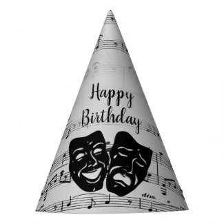 Silver Music and Theater Masks Birthday Party Hat