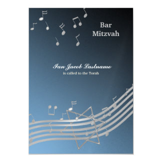 Silver Music in the air 5x7 Paper Invitation Card