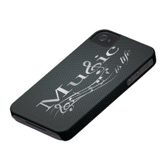 Silver Music is Life with Metal Mesh iPhone 4 Case-Mate Case
