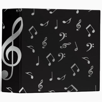 silver music notes binder