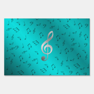 silver music notes sign