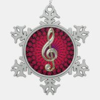 Silver Music Treble Clef Snowflake  Ornament
