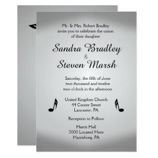 Silver Music Wedding Theme Invitation