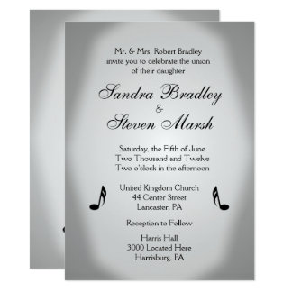 Silver Music Wedding Theme Invitation