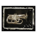 Silver Musical Instrument Print