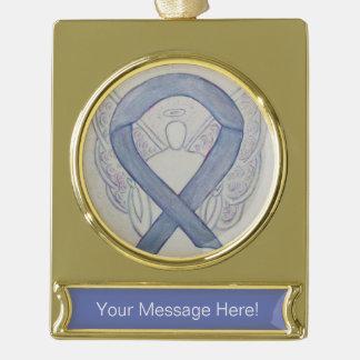 Silver Mystic Awareness Ribbon Angel Art Ornament