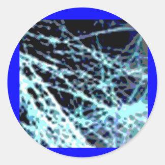Silver n Blue Streaks Round Sticker