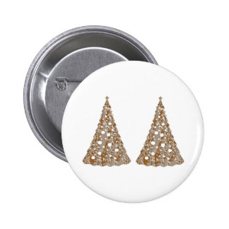 Silver n Gold Engraved LightShow Trees 2 Inch Round Button