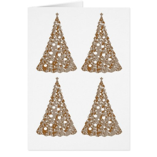 Silver n Gold Engraved LightShow Trees Greeting Cards