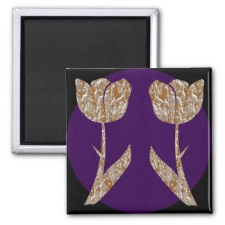 Silver n Gold Engraved TULIP Flowers Fridge Magnets