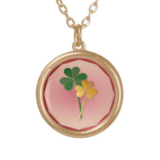 Silver n Gold Shamrocks Gold Plated Necklace