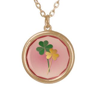 Silver n Gold Shamrocks Round Pendant Necklace