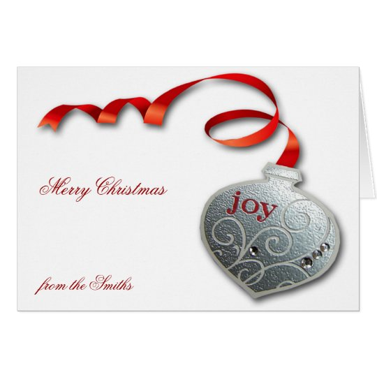 Silver n Red Joy Ornament Merry Christmas Greeting Card