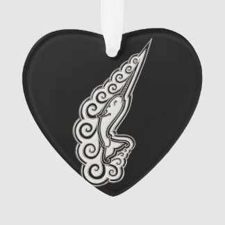 Silver Narwhal Waves Celtic Style Art