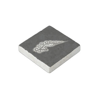 Silver Narwhal Waves Celtic Style Art Stone Magnet