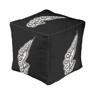 Silver Narwhal Waves Celtic Style Art Pouf