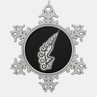Silver Narwhal Waves Celtic Style Art Snowflake Pewter Christmas Ornament