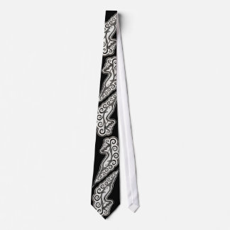 Silver Narwhal Waves Celtic Style Art Tie