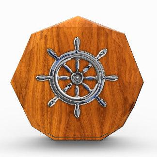 Silver Nautical Wheel on Teak Veneer Print Award