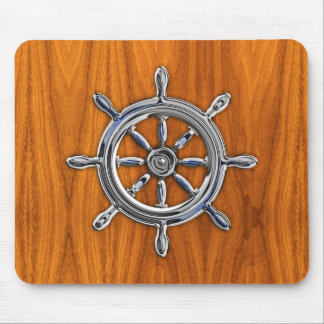 Silver Nautical Wheel on Teak Veneer Print Mouse Pad