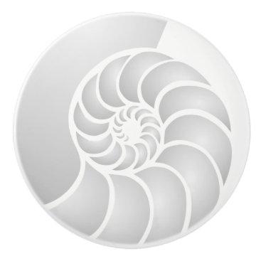 Beach Themed Silver Nautilus Coastal Style Ceramic Knob