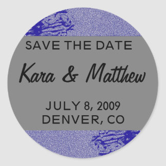Silver & Navy Blossom Save the Date Stickers