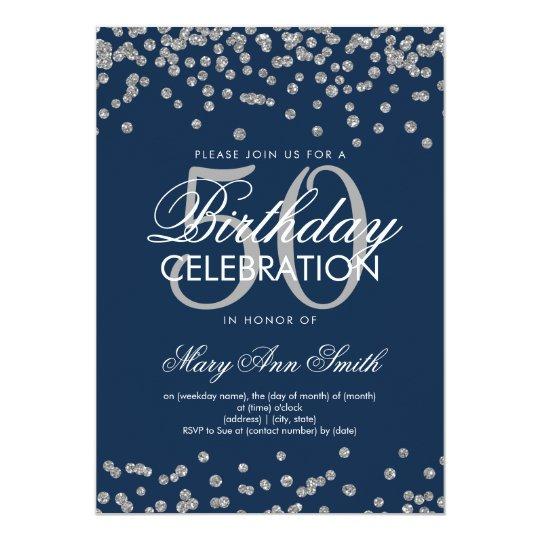 Silver Navy Blue 50th Birthday Glitter Confetti Invitation