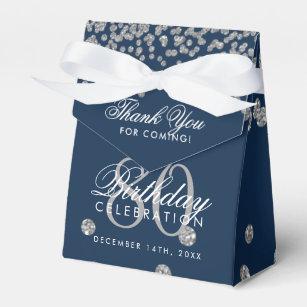 Silver Navy Blue 80th Birthday Thank You Confetti Favor Box