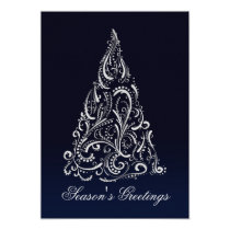 silver navy blue christmas tree holidays card