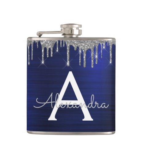 Silver Navy Blue Glitter Brushed Metal Monogram Flask