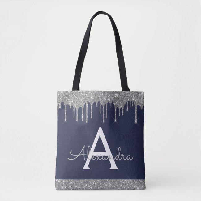 Silver Navy Blue Glitter Spakle Elegant Monogram Tote Bag