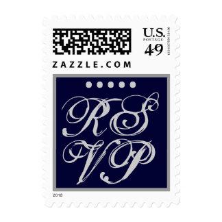 SILVER & NAVY BLUE  -  RSVP Wedding Stamp