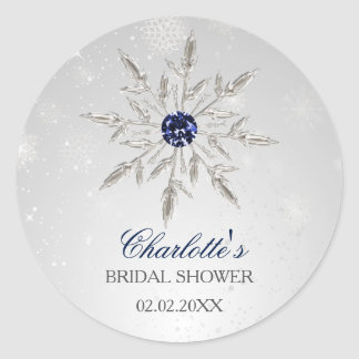 silver navy blue snowflakes bridal shower stickers
