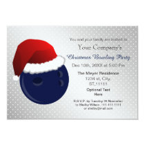 silver navy Corporate holiday Bowling party Invite