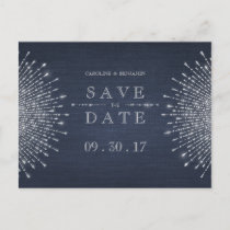 Silver navy deco vintage wedding save the date announcement postcard