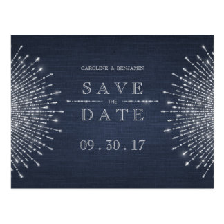 Silver navy deco vintage wedding save the date postcard