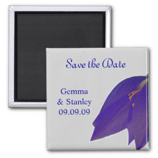 Silver & Navy Flower Save the Date Magnet