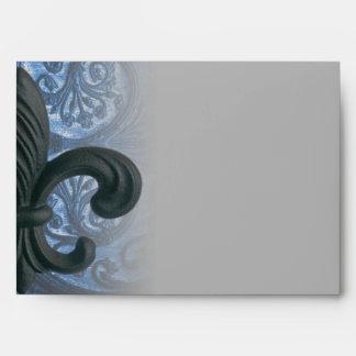 """silver/navy """"iron fleur de lis"""" A7 ENVELOPE"""