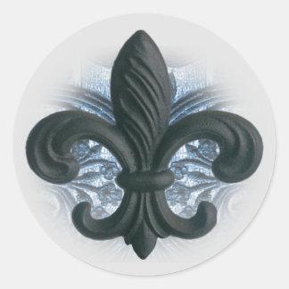 "silver/navy ""iron fleur de lis"" invitation seals"