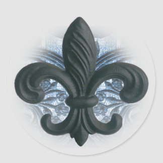 "silver/navy ""iron fleur de lis"" invitation seals round stickers"
