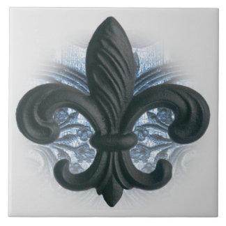 """""""silver/navy"""" iron fleur de lis LARGE TILE/TRIVET"""
