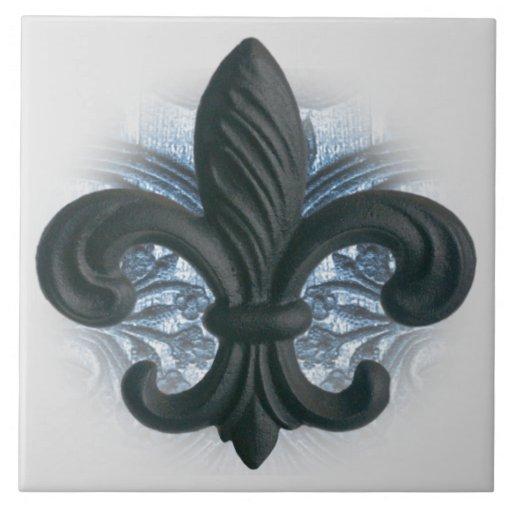 Silver Navy Iron Fleur De Lis Large Tile Trivet