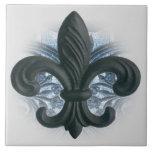 """""""silver/navy"""" iron fleur de lis LARGE TILE/TRIVET Tile"""