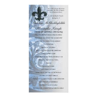 """silver/navy """"iron fleur de lis"""" WEDDING PROGRAM Rack Card"""