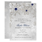 Silver Navy Snowflakes Winter Bridal Shower Invite
