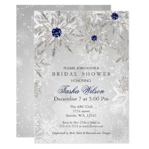 Winter bridal shower invitations announcements zazzle silver navy snowflakes winter bridal shower invite filmwisefo