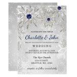 Silver Navy Snowflakes Winter Wedding Invitation at Zazzle