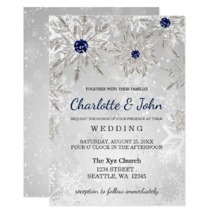 Winter wedding invitations wonderful for winter weddings zazzle silver navy snowflakes winter wedding invitation filmwisefo
